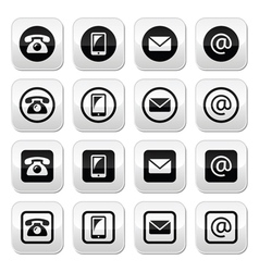 Contact buttons set - mobile phone email vector image vector image
