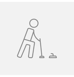 Curling line icon vector image