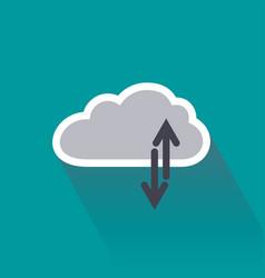 Digital data upload and download on cloud server vector