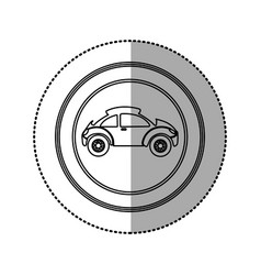 figure round emblem side sport car icon vector image vector image