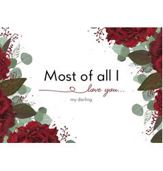 Floral card design with garden burgundy red rose vector