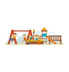 guys having fun ride on swing an amusement park vector image vector image