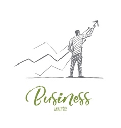 Hand drawn business man with concept lettering vector image vector image