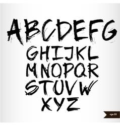 Handwritten calligraphic black watercolor alphabet vector