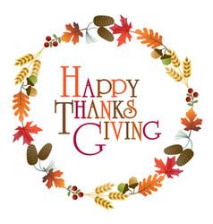 happy thanksgiving wreath graphic vector image vector image