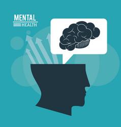 Human head brain mental health mind with arrows vector