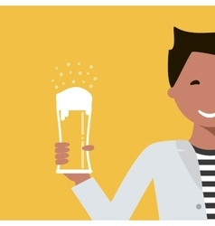 Man with a Glass of Beer vector image vector image