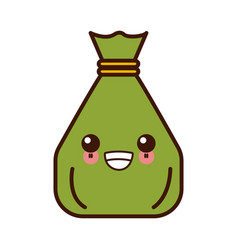 money sack bag kawaii cute cartoon vector image