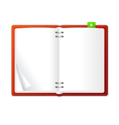 open personal organizer book red vector image