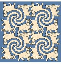 Seamless cats repetition pattern vector image