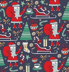 Seamless christmas pattern with hand drawn santa vector