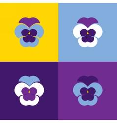 Set of geometric pansies Heartsease vector image
