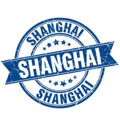 Shanghai blue round grunge vintage ribbon stamp vector