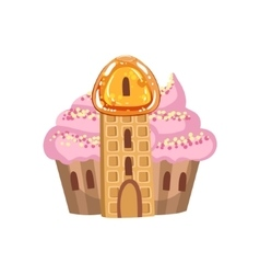 Small Cupcake Castle With Cream Roof And Waffle vector image vector image
