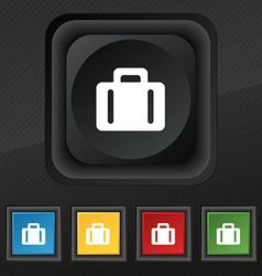 suitcase icon symbol Set of five colorful stylish vector image