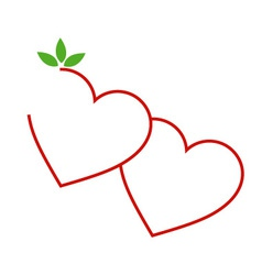 Two Hearts with leaves- logo for matrimony vector image