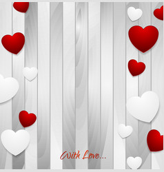 Valentine hearts on light grey wooden texture vector image