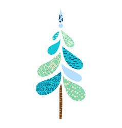 Vintage christmas tree isolated white background vector