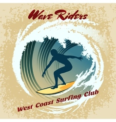 Wave riders surfing label vector