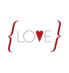 Word love with red heart vector image