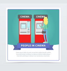 Young woman buying tickets in cinema automatic vector