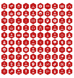 100 headhunter icons hexagon red vector