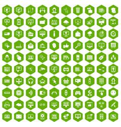 100 internet icons hexagon green vector