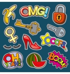 Fashion patch badges 80s-90s girl style set vector