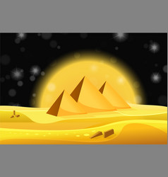 Cartoon egyptian pyramids in the desert with vector