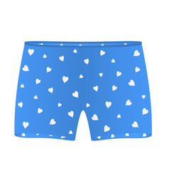 Mens boxer shorts with white hearts vector
