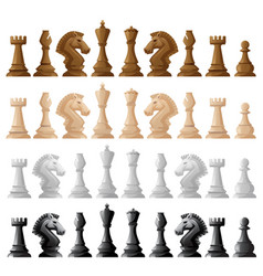 four set of chess pieces vector image
