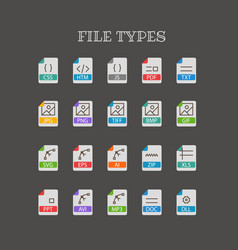Different file types thin line color icons set vector