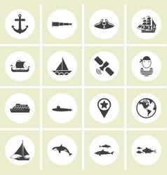 Ector - set of nautical sea ocean sailing icons vector