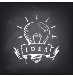 Hand drawn banner with light bulb vector