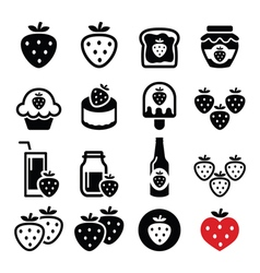 Strawberry meals - food and drinks icons set vector