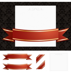 Frame gold ribbon vector