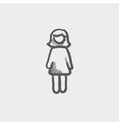 Woman standing sketch icon vector