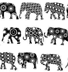 Ornate patterned elephantes vector