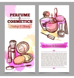 Perfume and cosmetics vertical banners vector