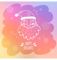Sketchy santa claus on misted window glass with vector