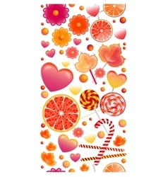 Seamless pattern with vertical band of sweets vector