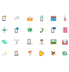Mobile services icons set vector