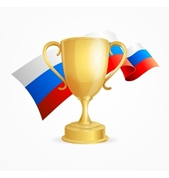 Russia winning golden cup concept vector