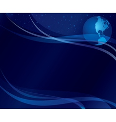 Abstract dark blue background with globe vector