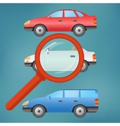 A magnifying glass selects a car vector image vector image