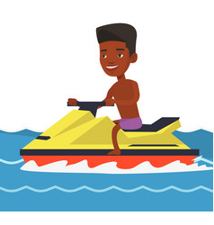 African-american man training on jet ski in sea vector