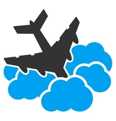 Aircraft falls into clouds icon vector