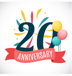 Anniversary 20 years template with ribbon vector