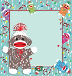 baby sock monkey shower vector image