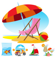 beach chair fish cocktail sailing scooter set of vector image